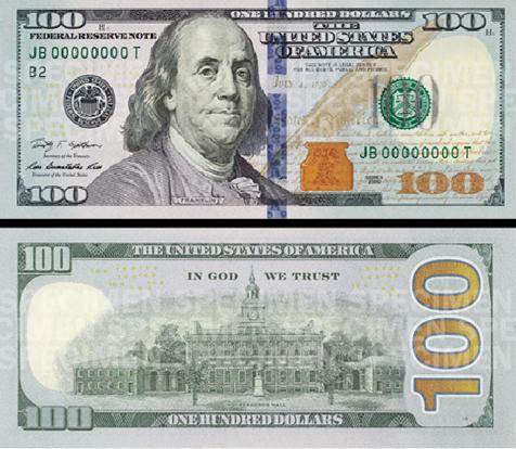 Đồng 100 USD mới.